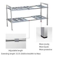 Bathroom Under Sink Organizer 2 Tier Shelf Stainless Steel Storage Expandable