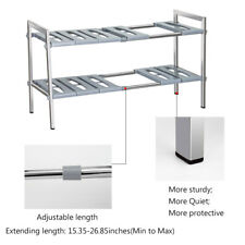 Bathroom Under Sink Organizer 2 Tier Shelf Stainless Steel Storage Expandable