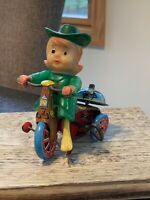 Vintage Marx Tin Wind UP Western CowGirl Female Cowboy on Tricycle Toy
