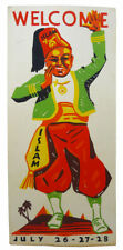 Vintage EGYPTIAN WELCOME TRAVEL POSTER STANDEE 1940 ISLAM Shriner FEZ No Reserve