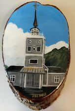 Signed Hand Painted Wood Vintage knot round artist Deldee unique church scenery