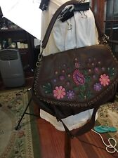 New Isabella Fiore Embroidered Purse Leather brown Hand Bag Leather Pink Flowers