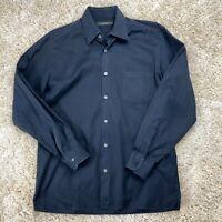 Ermenegildo Zegna Men's Large Black Striped Long Sleeve Dress Shirt