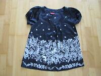 La City Paris Damen Shirt Bluse Gr. 36 schwarz mit silber Blüten Stretch