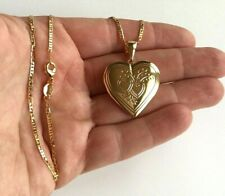 "18K GOLD FILLED HEART LOCKET LOVE NECKLACE 20"" LONG / CADENA DE CORAZON 20"" -N39"