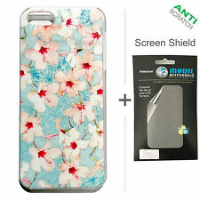 BACK+FACE Hibiscus Hard Plastic Case + Screen Protector for Apple iPhone 5 5S