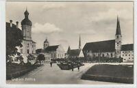 Ansichtskarte Gruss aus Altötting - Blick auf die Kirche - Stadtansicht - s/w