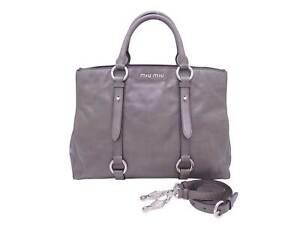 Auth MIU MIU 2-Way Handbag Shoulder Bag Gray Leather/Silvertone - e46853f