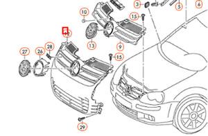 Volkswagen Golf MK5 R32 Front Bumper Radiator Grille 1K0853651R3Q7 NEW GENUINE