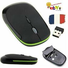 FR Noir Ultra-Mince 2.4GHz Sans Fil Souris Mini Optique PC Portable 2.4G USB