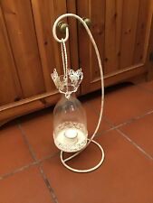 BOTTLE SHAPED TEA LIGHT LANTERN ON A STAND / CREAM AND BRUSHED GOLD #W/