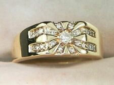Band Ring in 14K Yellow Gold Over 2Ct Round Cut Diamond Men's Engagement Unique