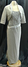 Wedding Dress NEW Romantic silver beaded formal gown DRESS bolero jacket Plus 1X
