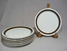 "Mikasa ""Metro"" White Brown Rim Salad/Luncheon Plates - Set of 6 EXCELLENT"