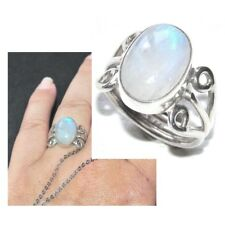Bague en argent massif 925 et pierre de lune T 54 bijou ring