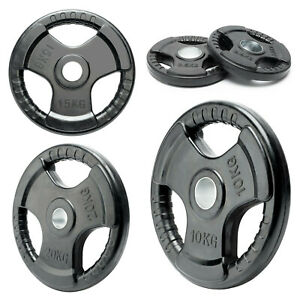 TRI-GRIP WEIGHT PLATES LIFTING WEIGHTS GYM HOME RUBBER ENCASED 2 INCH OLYMPIC UK