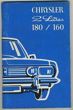 (36B) CHRYSLER 2 litres 180 /160 Notice d'utilisation