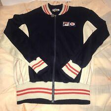 Vtg 70s 80 Fila BJ Bjorn Borg White Line US 40 Blue Cream Tennis Track Jacket