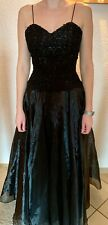 Schwarzes Designer-Kleid, Abendkleid, Papillon London, Größe 36