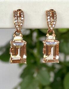 Genuine Morganite, Diamond and Topaz Solid 10K Rose Gold Dangle Earrings, New