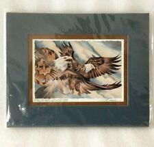 "JODY BERGSMA Signed 10"" x 8"" Print Tribal Flying Eagle Air East Wind Blue Matte"