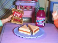 Barbie Fun Fixin Play Food Peanutbutter Sandwich Lays Chips Cranberry Juice Lot