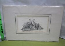 EASTHAM WINDMILL matted print Cape Cod pen & ink drawing CM Goff gristmill art