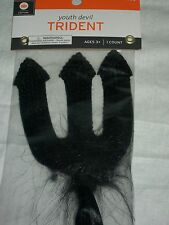 "Halloween Costume Black Devil Trident 18"" Youth Sequin Bling Fork Feather"