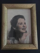 1940s Vtg Ribbed Wood Gilt Picture Frame Ruth Warrick Color Print Photograph RKO
