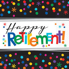 32 Happy Retirement 2ply Paper Luncheon Napkins Serviettes Party Tableware