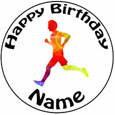 "Colourful Runner Running Personalised Icing Cake Topper Round Pre-cut 8"" (20cm)"