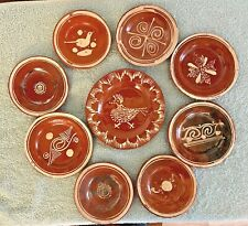Lot of Small Handmade Redware Saucers