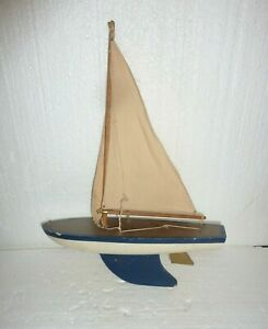 Vintage Decorative Wooden Pond Style Sailboat