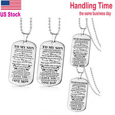 US Ship To My Son or To My Daughter Dog Tag Stainless Steel Military Necklace
