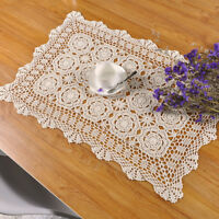 "Vintage Hand Crochet Lace Table Doily Rectangle Tablecloth Pattern Ecru 19""x31"""