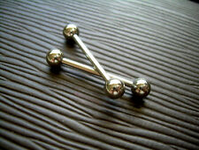 "PAIR 14g 3/4"" 19mm Nipple ORLG Rings Barbell 5mm Balls Solid 316L Surgical"