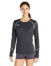 ASICS Women's Volleycross Long Sleeve Jersey, Black/Steel Grey, Small
