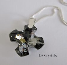 28mm Greek Cross Necklace made with Swarovski Silver Night,Sterling Silver Chain