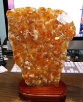 LARGE CITRINE CRYSTAL CLUSTER  CATHEDRAL GEODE  BRAZIL W/ WOOD STAND POLISHED