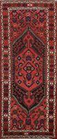 Vintage Tribal Hamedan Geometric Runner Rug Wool Oriental Hand-knotted 3'x8' RED