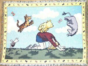 "RARE Disney Classic Winnie Pooh Baby Blanket Crib Quilt Comforter 61"" x 44"""