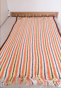 Handmade Vintage White/Brown/Peach/Yellow AFGHAN Lap Blanket