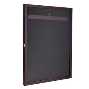 Sports Jersey Display Case Lockable Shadow Box Football Basketball Hockey/Brown