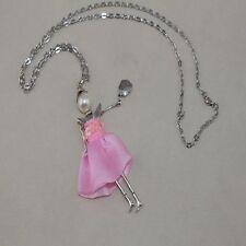 XXL 82cm Kette 11,5cm Charm Puppe Doll Kreuz Halskette Stoff Silber Pink 1177