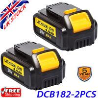 2X 18V 4.0Ah Lithium Ion Battery for DEWALT DCB184 DCB182 XR Slide DCB200 DCB180