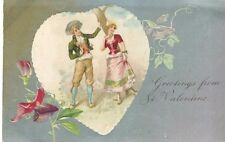 Greetings from St Valentine Vintage Postcard Silver background Embossed Couple