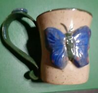 Handmade Pottery Mug 3D Butterfly BLUE clay fired gorgeous