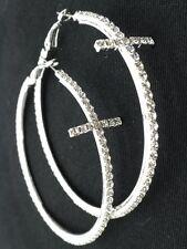 "New Cross Crystal Hoop Earrings Silver Plated Crystal Women Pierced 3"""