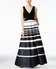 Xscape Illusion-Inset Striped Ball Gown Blk/White Size UK10 rrp £194 DH081 BB 04