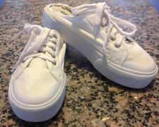 Vintage 90's Sketcher's Platform Sneakers Sz 8.5 Mules Chunky White Canvas Shoes